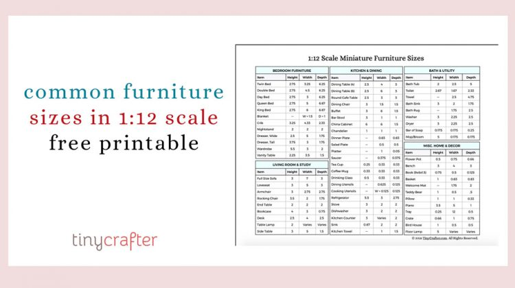 Common Furniture Sizes in 1:12 Scale Miniature Reference Chart