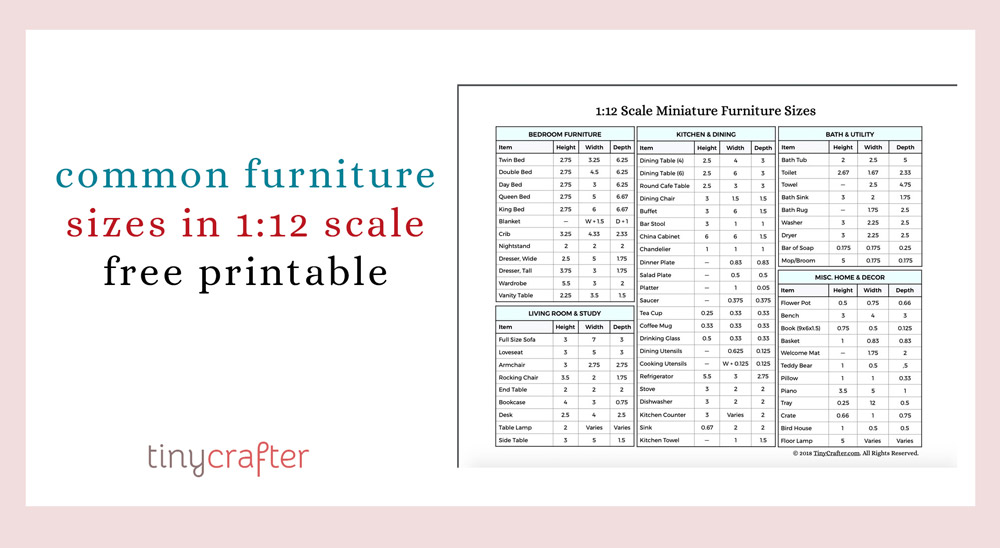 furniture sizes in 1:12 scale conversion chart