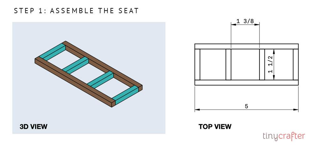 garden bench step 1 diagram