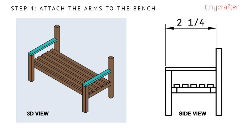 garden bench step 4 diagram