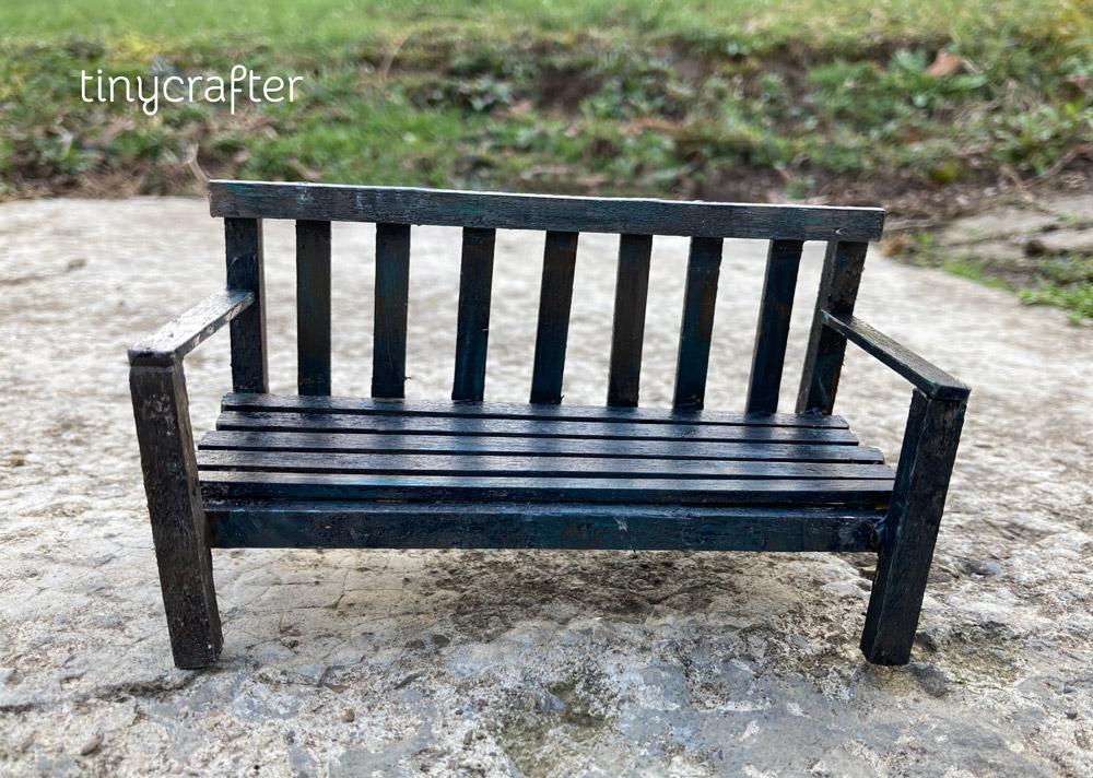 miniature rustic garden bench painted