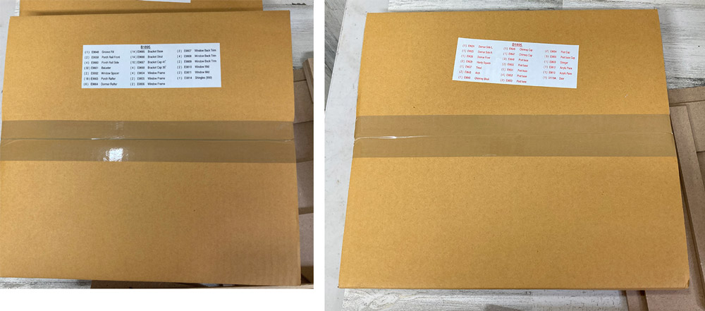 small boxes with description of contents